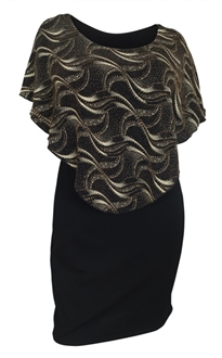 Plus Size Layered Poncho Dress Gold Glitter Print Black 10816