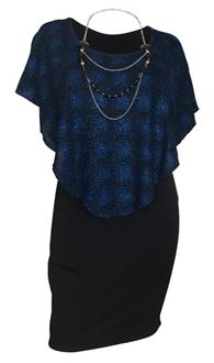Plus Size Layered Poncho Dress Blue Glitter Print Black 10816