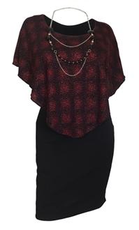 Plus Size Layered Poncho Dress Red Glitter Print Black 10816