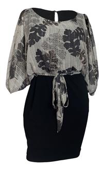 Plus Size Cold Shoulder Batwing Blouson Dress