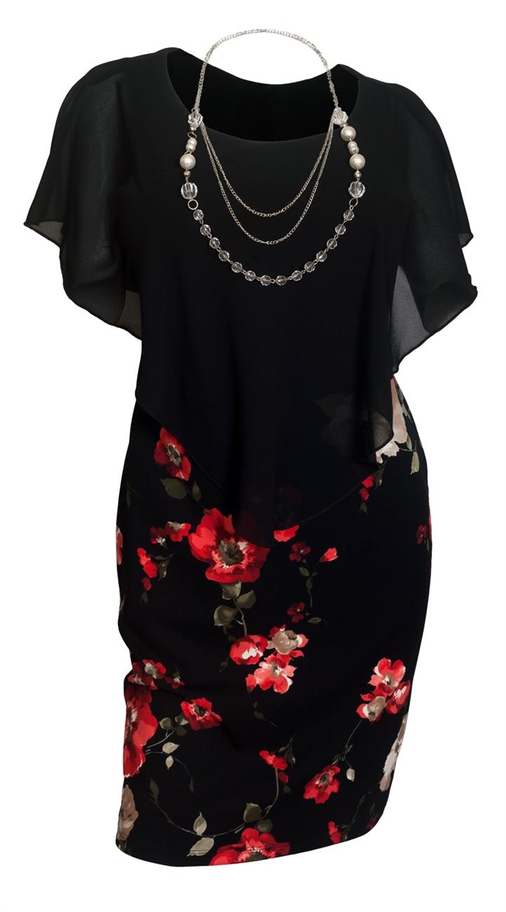 Plus Size Layered Poncho Dress Black Red Floral Print Skirt 18223