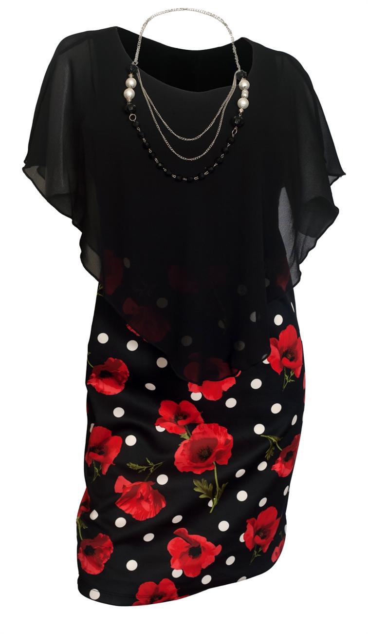 Plus Size Layered Poncho Dress Black Floral Print Skirt 18223-2