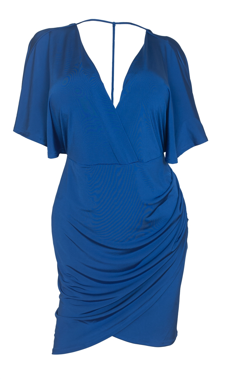 Plus size Deep V-Neck Wrap Bodice Dress Royal Blue 18528