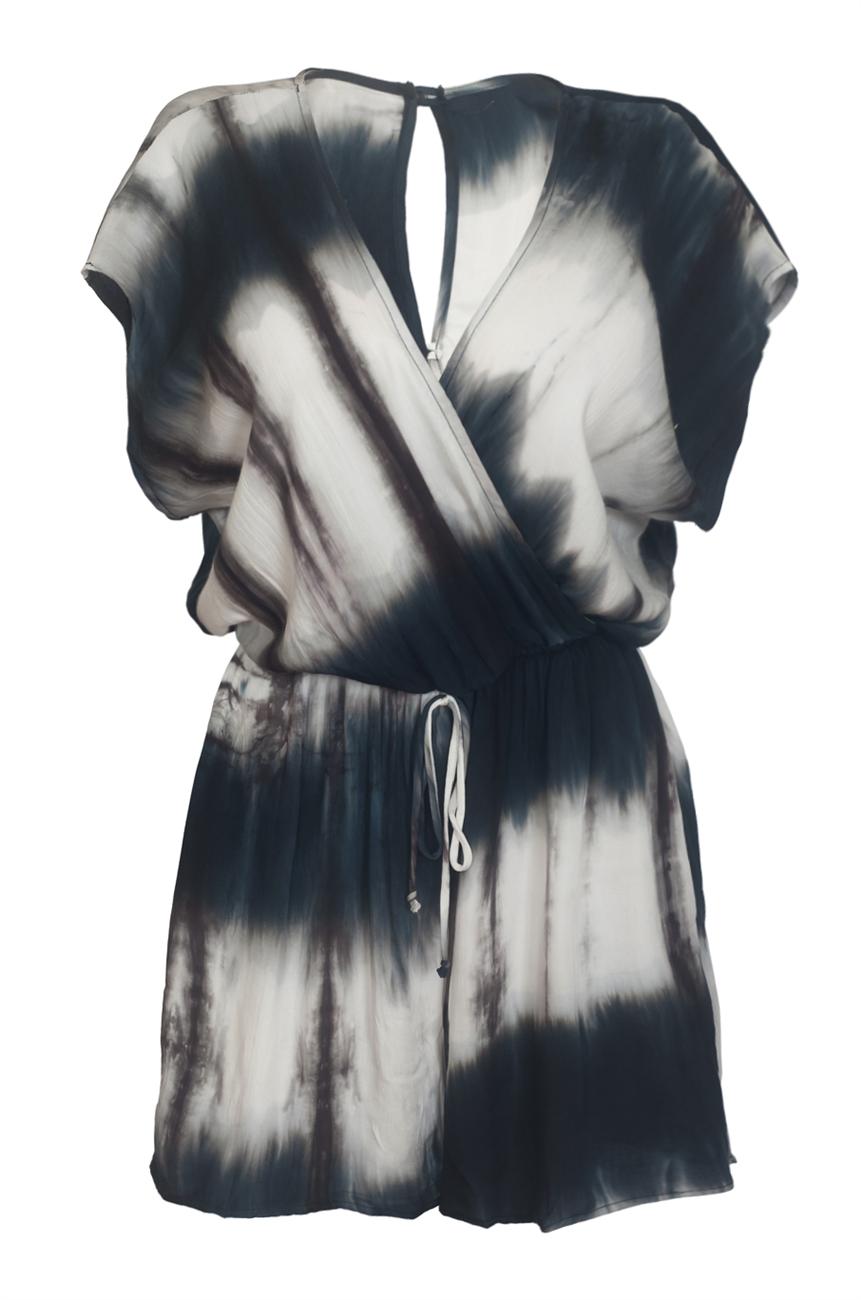 Plus size Wrap Bodice Romper Tie Dye Navy