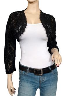 Plus Size Black Long Sleeve Lace Cropped Bolero Shrug