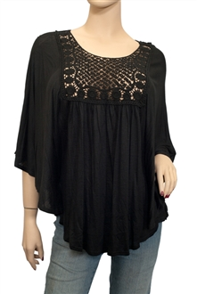 Plus Size Crochet Bodice Poncho Top Black