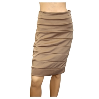 Jr Plus Size Bandage Pull On Pencil Skirt Beige