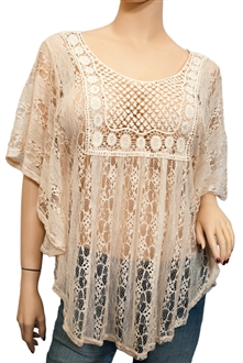 Plus Size Sheer Crochet Lace Poncho Top Ivory