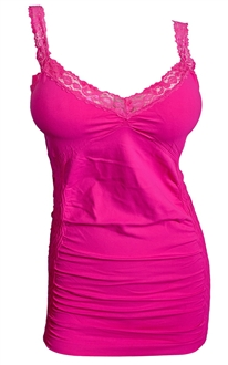 Jr Plus Size Lace Trim Long Cami Top Top Pink