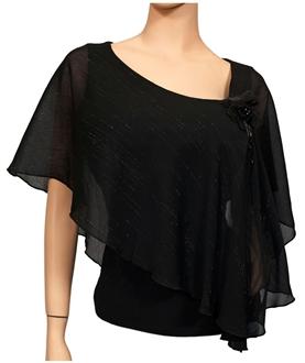 Plus size Sheer Layered Glitter Poncho Top Black