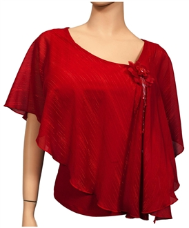 Plus size Sheer Layered Glitter Poncho Top Red