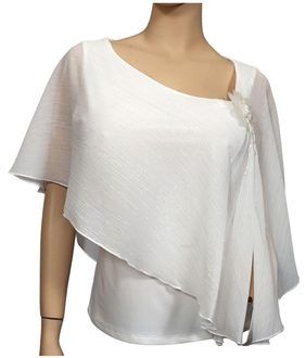 Plus size Sheer Layered Glitter Poncho Top White