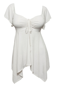 Plus size Deep V-neck Asymmetric Slimming Top Off White