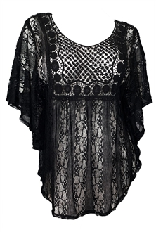 Plus Size Sheer Crochet Lace Poncho Top Black