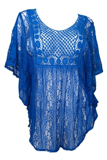 Plus Size Sheer Crochet Lace Poncho Top Royal Blue
