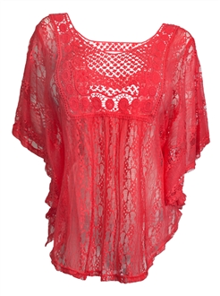 Plus Size Sheer Crochet Lace Poncho Top Orange