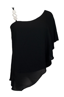 Plus Size Asymmetric Pendant Strap One Shoulder Layered Top Black