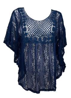 Plus Size Sheer Crochet Lace Poncho Top Navy Blue