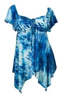 Plus size Deep V-neck Asymmetric Slimming Top Blue Sublimation Print