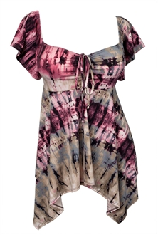 Plus size Deep V-neck Asymmetric Slimming Top Violet Taupe Sublimation Print