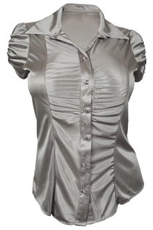 Plus Size Satiny Button Front Dressy Shirt Silver