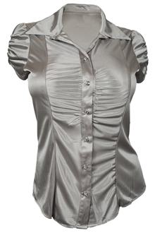 Plus Size Satiny Button Front Dressy Shirt Silver