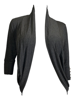 Купить Plus Size Shawl Collar Open Front Cardigan with Button Detail Gray