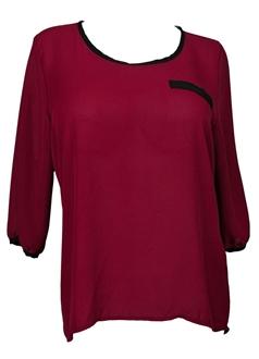 Купить Plus Size 3/4 Sleeve Colorblock Chiffon Blouse Burgundy