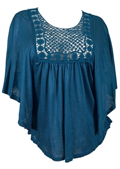 Plus Size Crochet Bodice Poncho Top Teal
