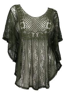 Plus Size Sheer Crochet Lace Poncho Top Dark Olive