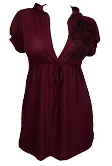 Plus size Low Cut V-neck Hoodie Top Burgundy