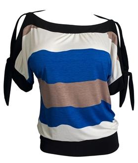 Plus size Off Shoulder Color Block Top Royal Blue