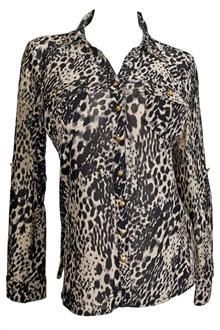 Купить Plus size Animal Print Blouse Black