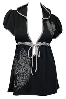 Plus Size Angel Wing Hoodie Top Black