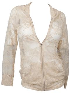 Plus Size Lace Zipper Front Hoodie Top Mocha
