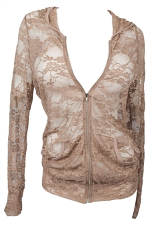 Plus Size Lace Zipper Front Hoodie Top Chocolate Brown
