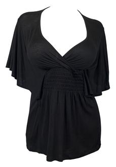 Plus Size Slimming V-neck Smocked Empire Waist Top Black