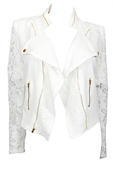 Купить Plus Size Open Front Lace Sleeve Jacket White