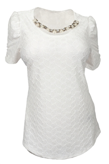 Buy online Plus size Sheer Scoop Neck Tunic Top /w Pearl Necklace White