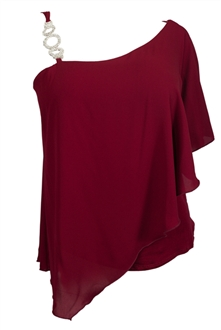Plus Size Asymmetric Pendant Strap One Shoulder Layered Top Burgundy