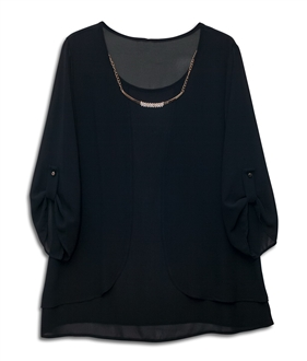 Necklace | Chiffon | Sleeve | Black | Plus | Long | Size | Top