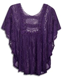 Plus Size Sheer Crochet Lace Poncho Top Purple