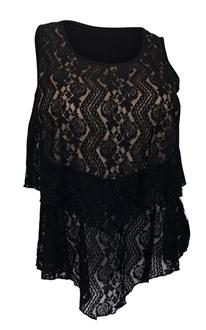 Plus size Layered Lace Sleeveless Top Black