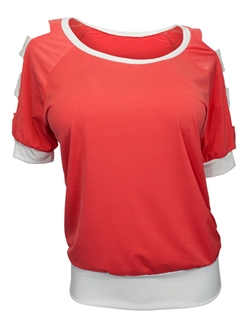 Plus Size Cut Out Shoulder Top Coral