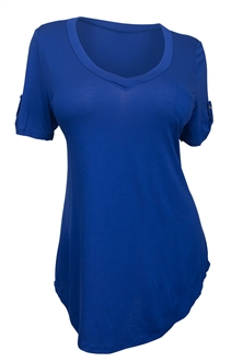 Plus Size Ballet Tunic Top Royal Blue M20150419A_BLU