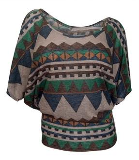 Plus Size Dolman Sleeve Top Abstract Print Green