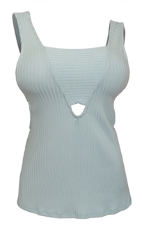 Plus Size Ribbed Deep V Cut-Out Tank Top Mint