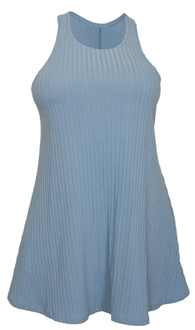 Plus Size Ribbed Sleeveless Racerback Tunic Top Blue M20160201A_BLU