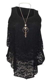Plus Size Tiered Lace Blouse Black