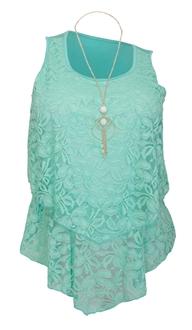 Plus Size Tiered Lace Blouse Mint M20160208G_GRN
